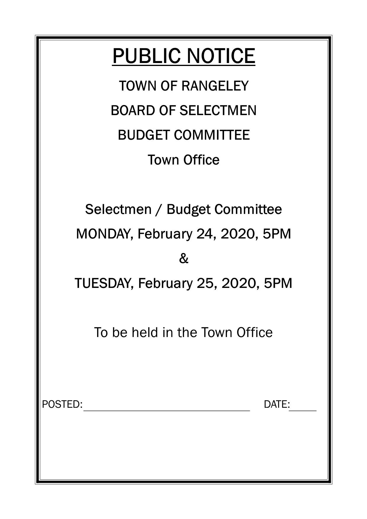 BOS . Budget Committee Meetings